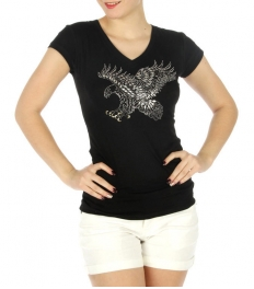 wholesale H00 Stud eagle V neck cotton T Black