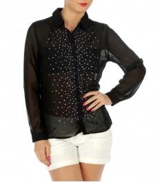 wholesale Colorful rhinestone hi low blouse BK/Pink