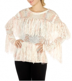 Wholesale BX00 Multicolored fringed knit sweater Pink