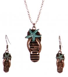 Wholesale WA00 Flipflop & starfish pendant necklace set CB
