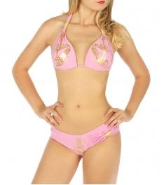 Wholesale K79 Metallic heel print halter bikini L.pink