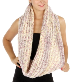 Wholesale Q56 Pastel knit infinity scarf Pink