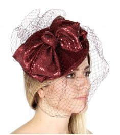 wholesale Q58 Wool felt fascinator sequined bow BY