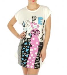 wholesale K22 Cotton animal print sleep shirt Purple