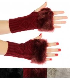wholesale Solid knit half finger gloves with faux fur trim Dozen