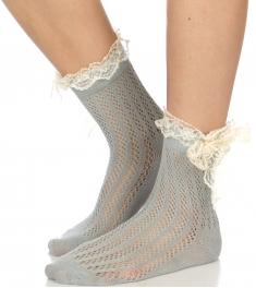 Wholesale J07D Crochet & lace bow anklet socks GR