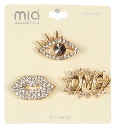 Wholesale WA00 Eye, lips & OMG! brooch set GCL
