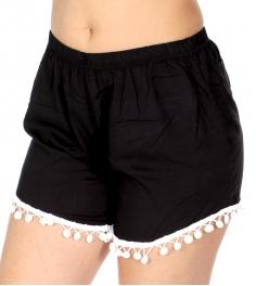 Wholesale S15A Solid black shorts w/ pom pom trim