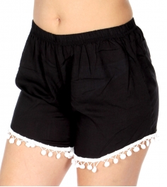 Wholesale S15A Solid black shorts w/ pom pom trim