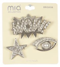 Wholesale WA00 Star, eye & WOW! brooch set RCL