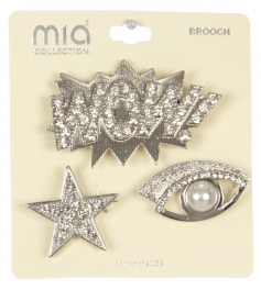 Wholesale WA00 Star, eye & WOW! brooch set RCL