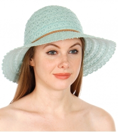 Wholesale V68D Solid floral crochet sun hat w/ braided string band WHITE