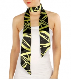 Wholesale G07E Curved Lines Pattern Sash Scarf BK/GN
