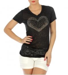 wholesale K05 Heart Rhinestones burnout cotton T Black