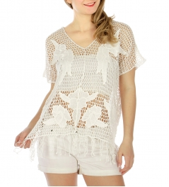 Wholesale H01 Fringed crochet feel cotton top White