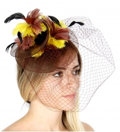 wholesale R13 Layer netted feather fascinator Black
