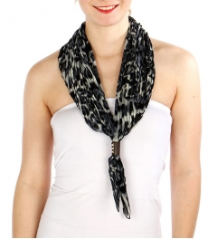 Wholesale H03B Leopard Print pleated rhombus Scarf BK