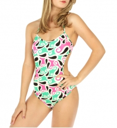 wholesale K98 Abstract monokini swimsuit Pink/Green