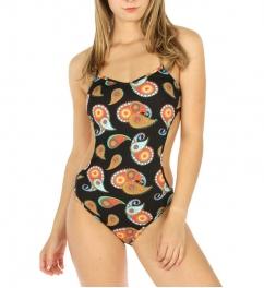 wholesale K98 Paisley monokini swimsuit Black/Orange