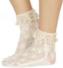 Wholesale T03B Scale pattern woven tassel anklet socks W
