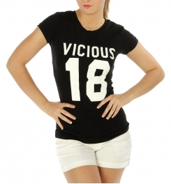 wholesale Cotton blend round neck tee Vicious 18 Black