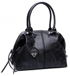 Wholesale P03E Top-zip shoulder tote handbag Black