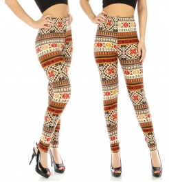 wholesaleA25 Yellow aztec cotton blend leggings