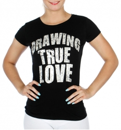 wholesale Cotton mix round neck T Drawing true love BK