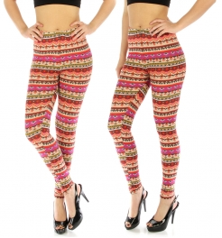 wholesale Elastic waistband leggings Geometric PP/OR XXL