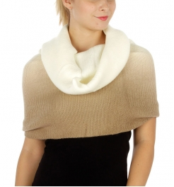 Wholesale P10 Two tone knit neckwarmer Beige/Ivory