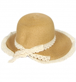 wholesale Pastel color paper woven hat lace trim Beige