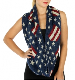 Wholesale Q83 Fuzzy flag pattern knit infinity scarf