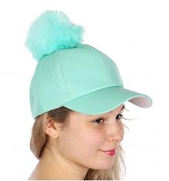 Wholesale Q69B Faux leather baseball cap w/ faux fur pompom BRBLK