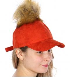 Wholesale Q66C Faux suede baseball cap w/ faux fur pompom BEG