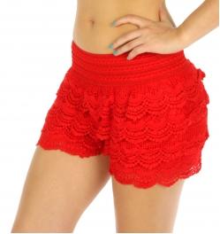 Wholesale K25 Cotton tiered lace shorts Black