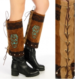Wholesale Q25 Cutout skull laced faux leather boot covers