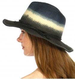 wholesale V06C Dip dye w/bow knot panama paper hat