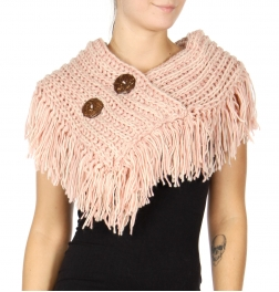 WholesaleS27A Two Button Fringed Shoulder Scarf BLACK/PINK