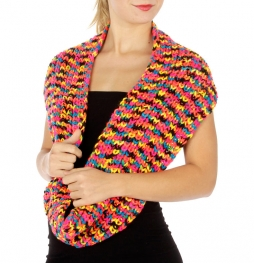 wholesale P19 Multicolor knit infinity scarf Neon OR