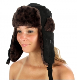 wholesale F04 Animal Skin Pattern Fur Trapper Hat Black