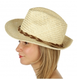 Wholesale BX00 Braided suede band panama hat Natural