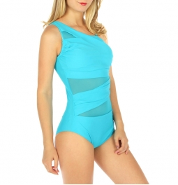 Wholesale K99 One shoulder mesh mix swimsuit Turquoise