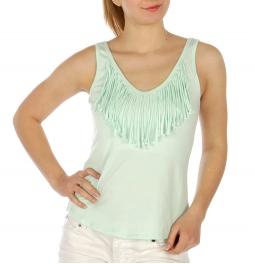 Wholesale K95 Fringe neckline cotton blend sleeveless top Black