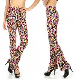 Wholesale B03 Abstract geometric softbrush flare leggings