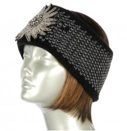Wholesale W02 Knit headband with embellished flower BK
