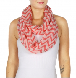 wholesale H19 Chevron infinity scarf Coral fashionunic
