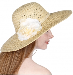 wholesale K43BX2 Flower corsage paper sun hat Natural