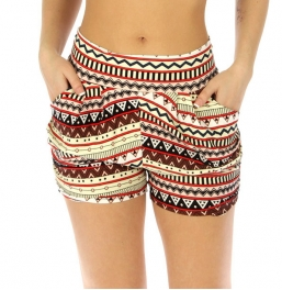 Wholesale E43 Cotton blend harem shorts Abstract aztec