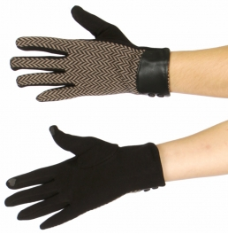 Wholesale U37D Smartphone friendly chevron pattern gloves w/ leather cuff BR