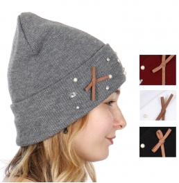 6eae86b8921 Y55B Knit beanie with faux suede bow and jewels Dozen CODE  M10115